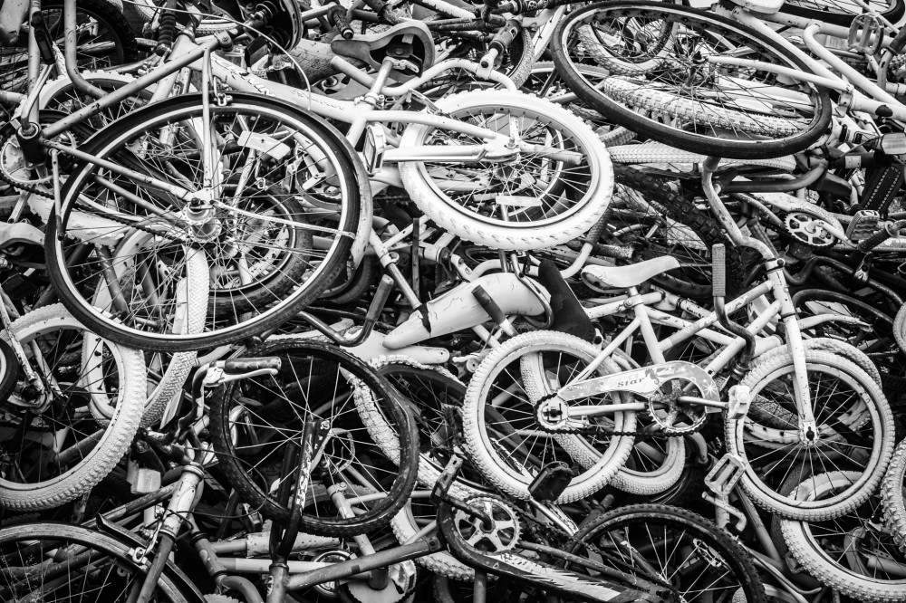 Bicycles in pile