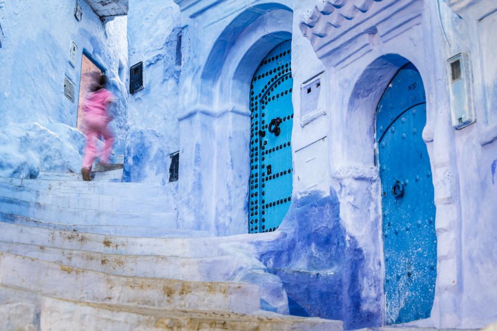 Girl and Blue Staircase