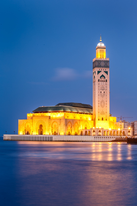 Hassan II Mosque at Dusk