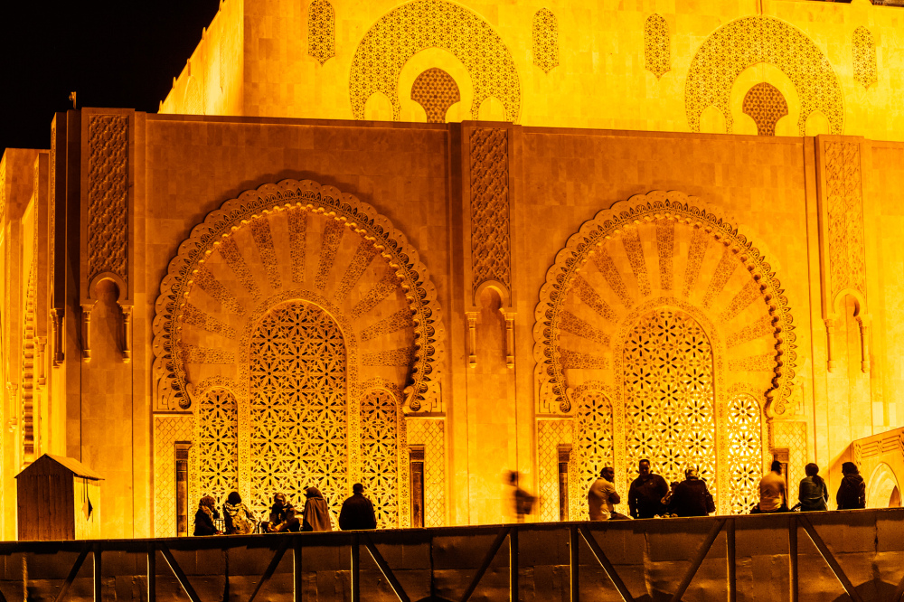 Night Silhouettes in front of Hassan II Mosque