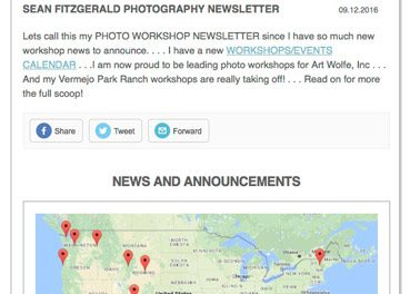 Newsletter Announcing 2016-2017 Photo Workshops