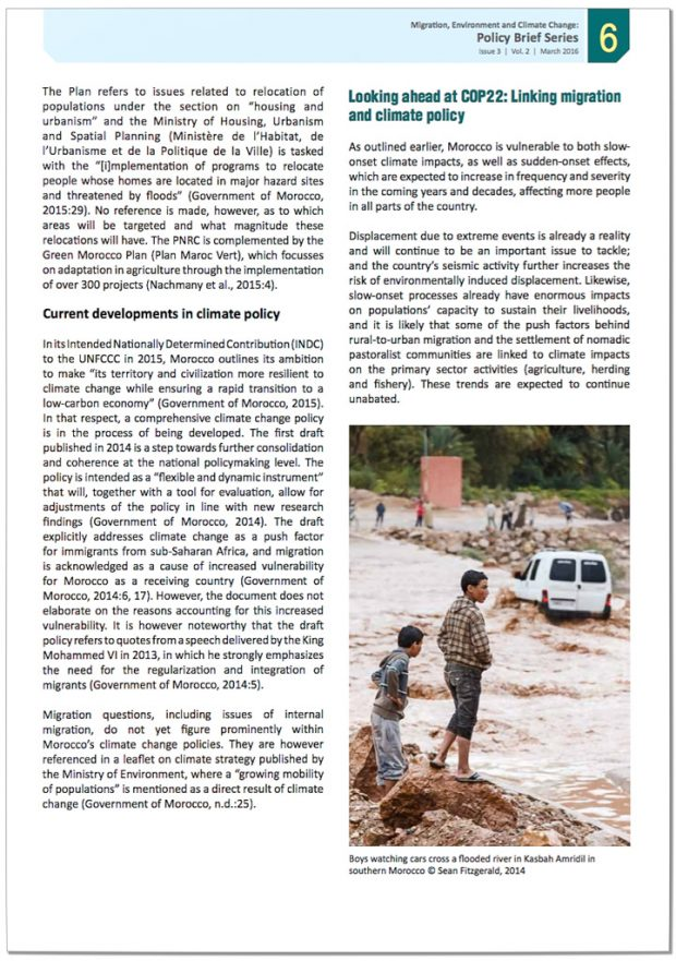 International Organization for Migration (IOM) Policy Brief, Vol. 2 Issue 3 cover photo by Sean Fitzgerald - Young boys observing river crossing during flood at Ait Snan on road to Todra Gorge, Morocco.