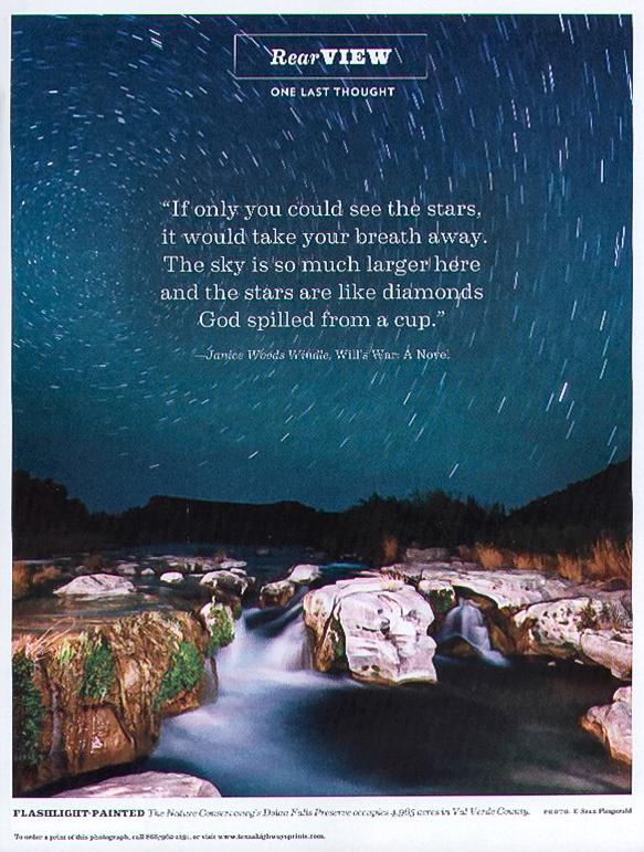 Texas Highways back page. Tear Sheet. Dolan Falls, Texas,