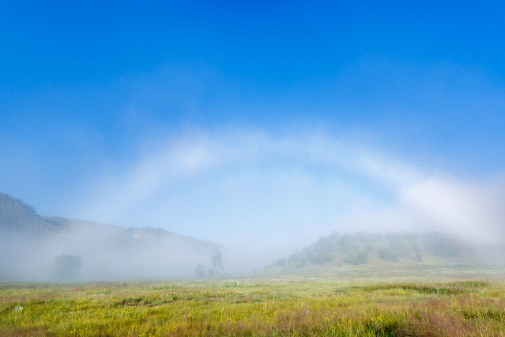 "Rainbow shaped fog known as a ""fog bow"" above meadow, Vermejo Park Ranch, New Mexico, USA."