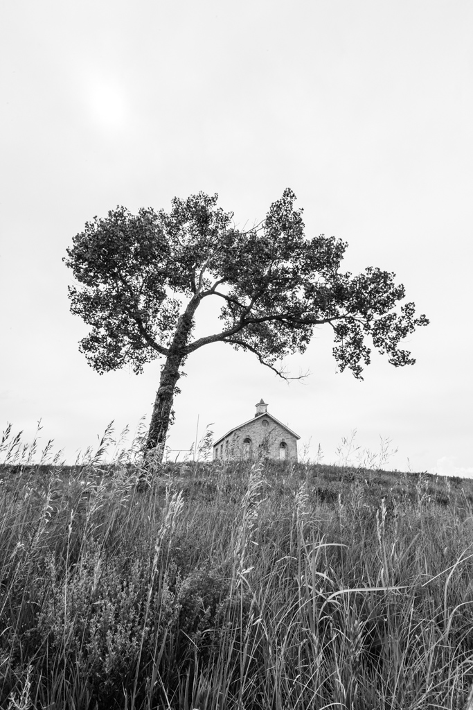 Lower Fox Creek Schoolhouse, Tallgrass Prairie National Preserve, Kansas, USA.