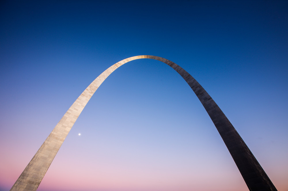 Moon and Gateway Arch