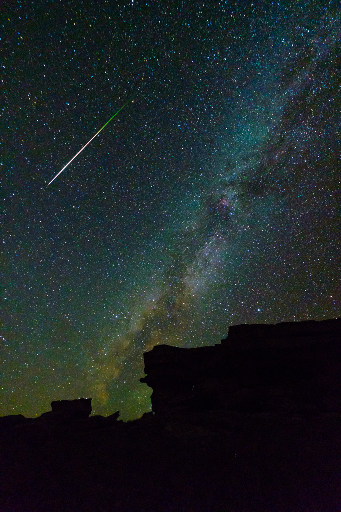 Castle Rock with night stars and Milky Way during Perseid meteor shower, Vermejo Park Ranch, New Mexico, USA.