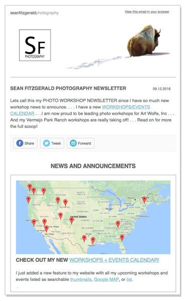 Newsletter Announcing 2016-2017 Photo Workshops